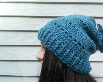 Super Slouchy Blue Crochet Beanie // Knit Ski Snowboarding Hat Fashion Accessories