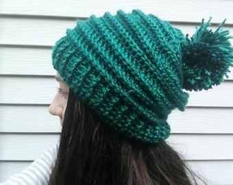 Teal Beanie Hat with Pom Pom for Fall Autumn / Boho Hippie Clothing Fashion Accessories