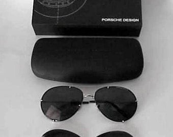 Rare Porsche Design Aviator Gold Plated Sunglasses P1002-C 5714-130 PC52 ~ 57mm Hard Shell Case NOS
