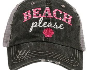 Beach Please Trucker Hat ~ Beach Please Hat ~ Beach Please Baseball Hat ~ Beach Hat ~ Spring Break ~ Women's Hat ~ Adorable