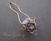 Hair pin made of copper with  chrysoprase natural stone in wire wrap art technique. Accessories for hair. Magic jewelry