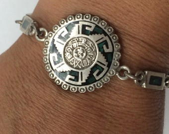 VINTAGE Sterling Aztec Style Bracelet