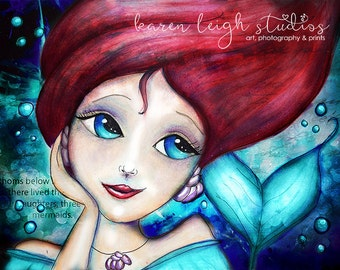 Little Mermaid II Mixed Media Print