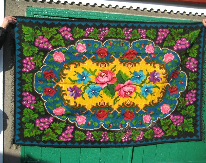 Bessarabian Kilim. Vintage Moldovan Kilim,Floor Rugs Handmade 45 years old, handmade. Floral Rugs Carpets, Eco-Friendly, Bab.