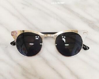 Classic vintage deadstock clubmaster wayfarer sunglasses / 90s does 50s metallic hornrim sunglasses