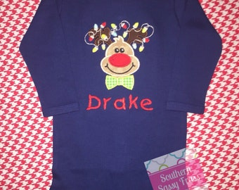 Personalized Christmas Boy Shirt - Appliqued Reindeer