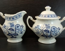 Vintage Ironstone Sugar Bowl and Creamer Set, Blue Nordic Onion Flower , J G Meakin England, Classic White, Cute for Kitchen Use and Decor