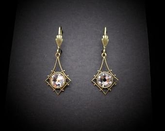 Victorian Earrings Crystal Swarovski Antiqued Brass Star Celestial FREE SHIP USA