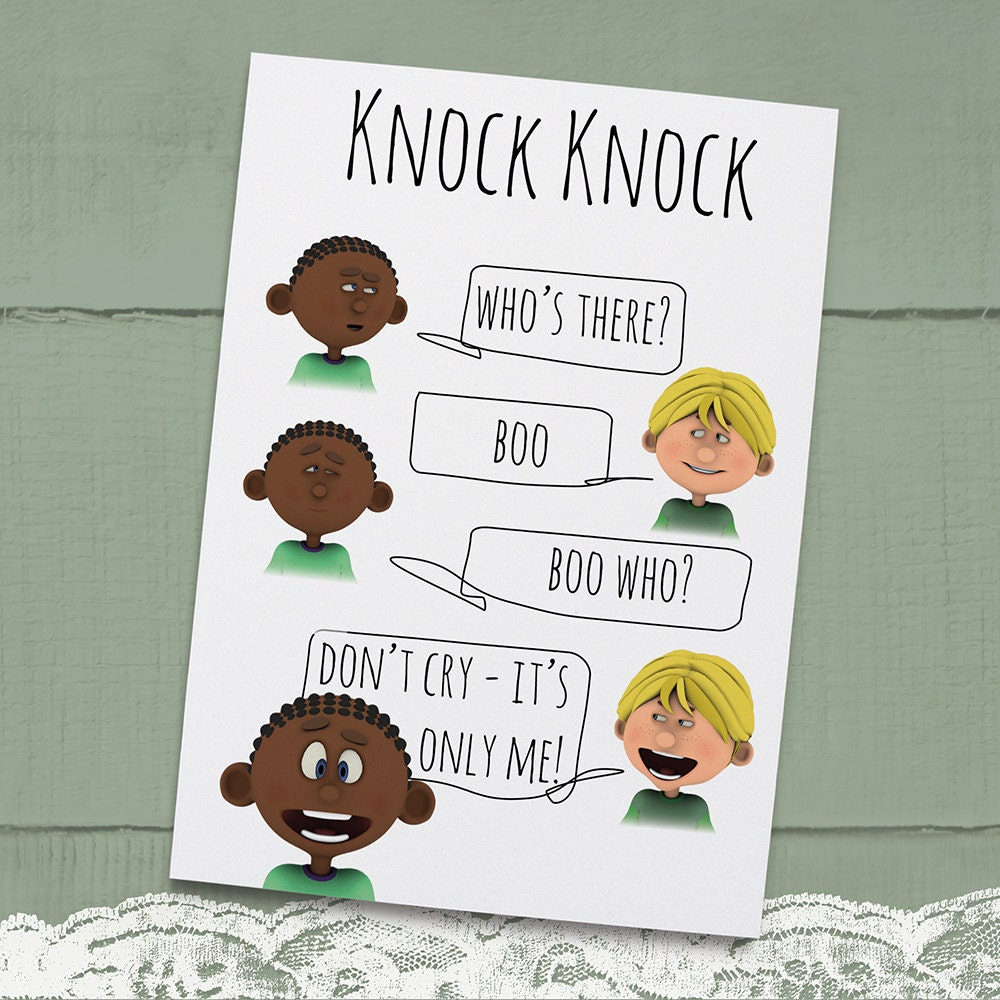 Knock Knock Ya Who Joke Greeting Card For Kids Instant: Knock Knock Joke Printable Greeting Card For By