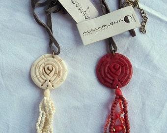 ALMAPLENA vintage: ethnic necklace carved bone pendant with genuine leather