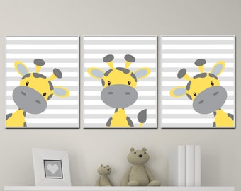 Baby Giraffe Nursery Art, Yellow And Grey Nursery Art Decor, Giraffe Nursery Art Prints -H192