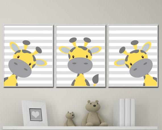 Baby Giraffe Nursery Art Yellow And Grey Nursery Art Decor