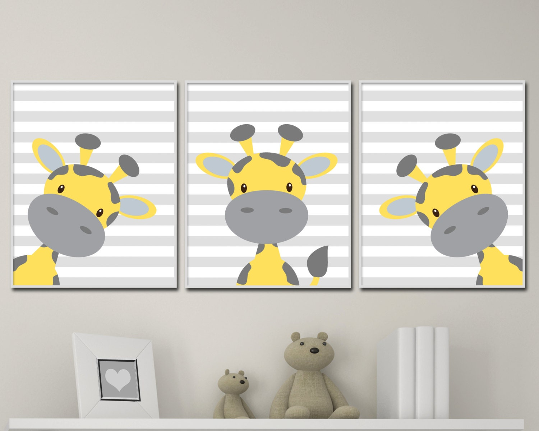 baby giraffe nursery art yellow and grey nursery art decor. Black Bedroom Furniture Sets. Home Design Ideas
