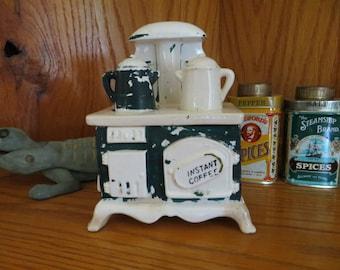 "Vintage 1950s Ceramic Lego ""Instant Coffee"" Kitchen Stove"