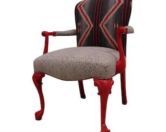 Custom Red Mult-Fabric Aztec Accent Chair