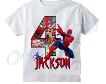 SPIDERMAN Custom T-Shirt, PERSONALIZE with Name and AGE, Perfect Birthday Gift!