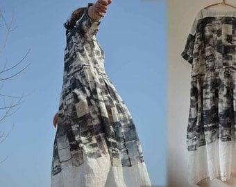 458---Silk Linen Blend Printed Dress, Made to Measure.