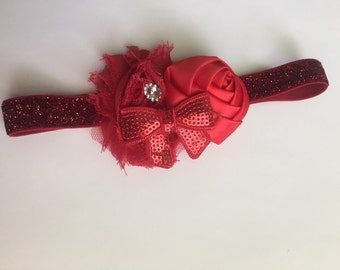 Valentines bow . Ready to ship.  Sequin Headband / red / sequins/ sparkle headband / Boutique Bow / Shabby chic bow/ headband / turb