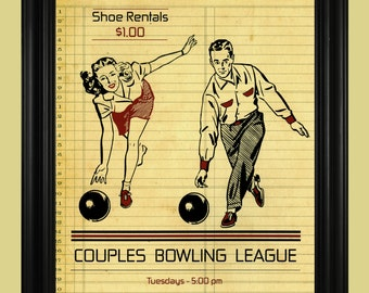 Vintage Bowling Poster, Couples Bowling League Sign, Bowling Illustration, Fun Sports Art Print