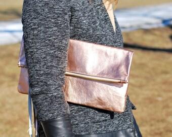 Leather Fold Over Clutch | Rose Gold | Metallic Clutch