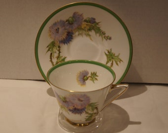 Royal Doulton Glamis Thistle Tea Cup and Saucer- Signed Curnock