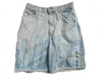 high waisted shorts, denim shorts, grunge shorts, upcycled shorts,  size 16 shorts,  # 71
