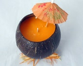 Mango Tangerine candle, Coconut shell Candle,  soy candle, scented soy candle, tropical candle, container candle, unique candle