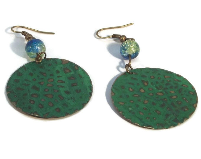 Hand Painted Aqua & Green Dragon Scales Dangle Earrings, Nickle Free Ear Wires, Hypo Allergenic, OOAK, One of a kind
