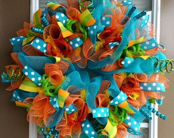 Bright Colorful Summer Deco Mesh Wreath