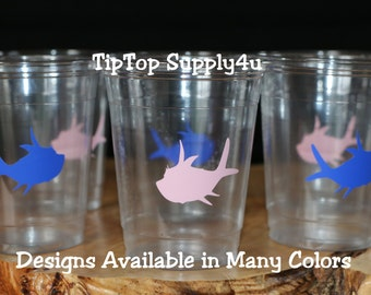 24 one fish 2 fish pink fish blue fish. Clear plastic cups 10, 12, 16 oz. Gender reveal, sprinkle shower, baby shower, birthday party. C-282