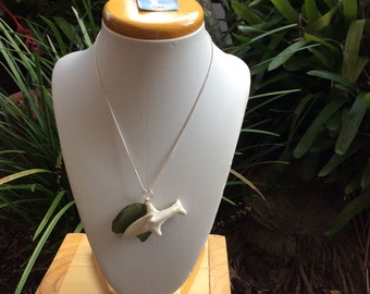 Porcelain and green sea glass dolphin necklace.