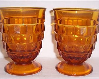 Vintage (2) Indiana American Whitehall Amber Color Short Water Glasses