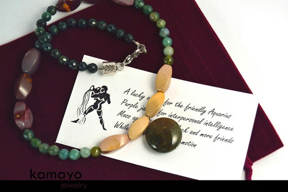 AQUARIUS NECKLACE - WOMENS' Choker - Moss Agate Pendant and Mooakite Jasper and Ocean Jasper Beads