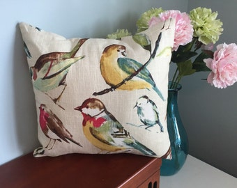 "One 18"" x 18"" pillow cover in a multi-bird print."