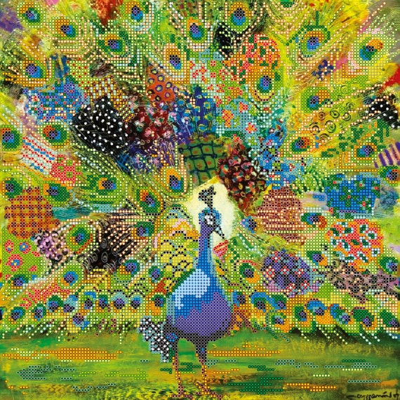 Patchwork Peacock bead embroidery beaded painting DIY beading kit craft set room wall decor