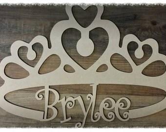 Crown Wood Wall/Door Sign Monogram with name