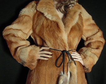 Real fur coat coyote golden jackal with belt desert fox colour