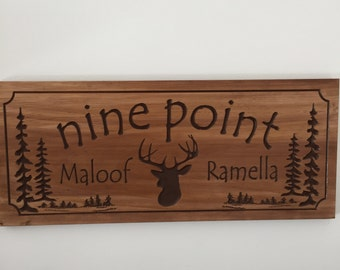 Personalized cabin sign Wooden Address Plaque Deer Buck Doe Pine tree Cabin Lake House Cottage Sign Wood Carved Rustic Plaque Buck  #20