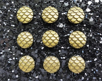 Small Gold Round Dragon Scale Resin Flatback Cabochon - 10mm - Magical - Decoden - DIY - Scrapbooking - Mythical