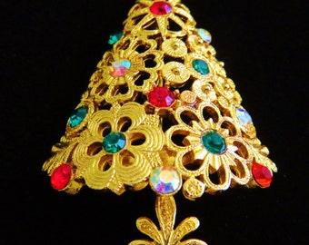 Spectacular Mylu Vintage Christmas Tree Brooch With Rhinestones