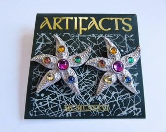 JJ Jonette Silver Pewter Jeweled Starfish Pierced Earrings