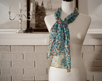 Poppies and CornFlowers Scarf