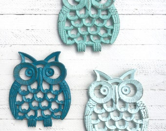 Owl Trivet-Owl Decor-Trivet-Holiday Gifts-Gifts-Housewarming Gifts-Candle Holder-Owl-Kitchen Accents-Kitchen Accessories-Modern Decor-Iron