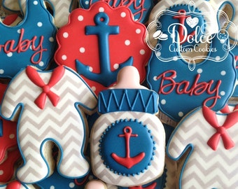 Nautical Anchor Baby Shower Cookies