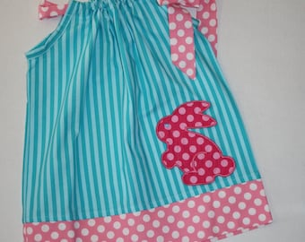 baby girls Easter dress,  pillowcase dress, aqua blue, monogrammed, personalized,  12 month, 18 month, 24 month, 2t, 3t, 4t, 5