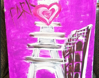 Paris In Pink Acrylic Painting, Acrylic Painting, Eiffel Tower Painting, Abstract Paris Art Painting