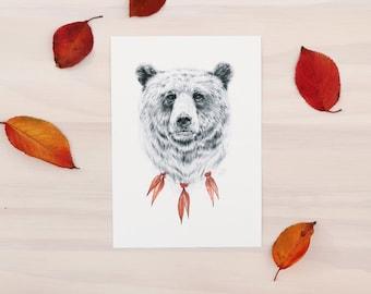 Bear print - Modern animal art print of a bear. Pencil and watercolor art.