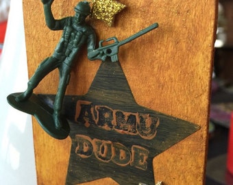 Army Star Wood Ornament / Gift Tag. Army Soldier Ornament. Military Christmas Ornament. Patriotic Ornament. Under Five Dollar Gift