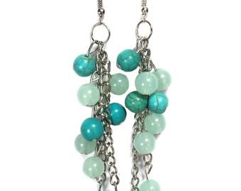 Turquoise Earrings - Dangle Earrings - Long  Earrings - Beaded Earrings - Turquoise Beads Earrings - Chain Earrings -Turquoise Ball Earrings