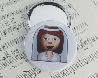 Bride Emoji Wedding Pocket Mirror (59mm)